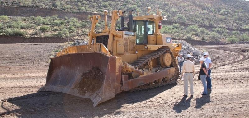 Dozer at Caterpillar's Tinaja Hills proving ground in Arizona