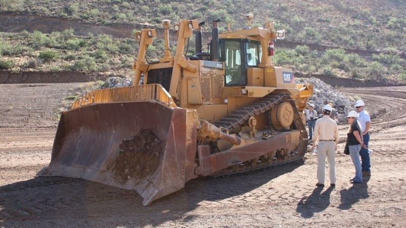 Dozer at Caterpillar's Tinaja Hills proving ground in Arizona