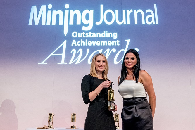 Carly presenting at the Mining Journal Oustanding Achievement Awards with host Amanda Van Dyk