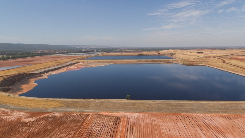 High angle view of a mine tailings pond. Image: Inmarsat