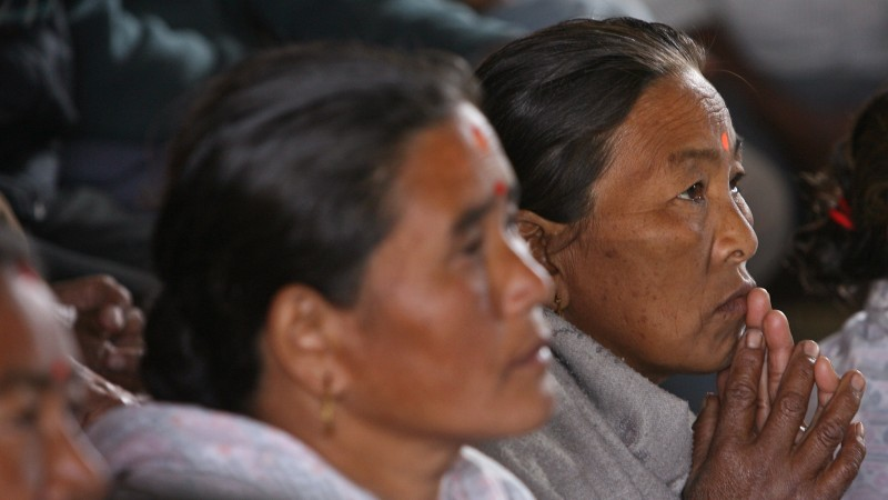 Women at a community meeting in Nepal. Photo: Simone D. McCourtie / World Bank