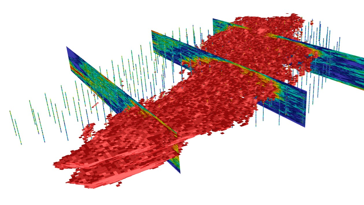 A 3D geological model showing ore boundaries viewed in DataCloud's Mine Portal software. Image: DataCloud
